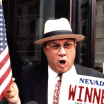 Jimmy Marks celebrates a victory in Federal courts. (Photograph by Sandra Bancroft-Billings, for the Spokesman Review.)